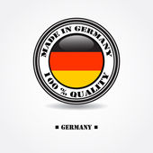 "Label ""made in Germany 100% quality"" with Germany flag in rubber stamp — Stock Vector"