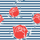 Seamless abstract pattern with roses on marine strips — Stock Vector