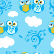 Royalty-Free Stock Vector Image: Owls couple on the sky. Seamless pattern