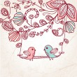 Greeting card with two birds on the floral tree — Imagen vectorial