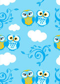 Owls couple on the sky. Seamless pattern — Stock Vector