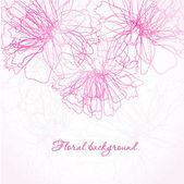 Cartão do convite com flores rosa abstratas — Vetor de Stock