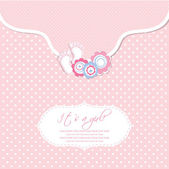 Baby girl shower card with foot steps and frame for your text — Stock Vector