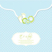 Baby boy shower card with foot steps and frame for your text — Stock Vector