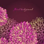 Mano carta saluti disegnati con fiori su sfondo scuro — Vettoriale Stock