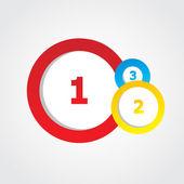 Veelkleurige ronde banners met getallen en plaats voor tekst. — Stockvector