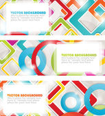 Set of four multicolored banners with circles and squares. Vector format for your design — Stock Vector