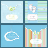 Set of four baby boy shower card in blue colors — Stock Vector