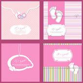 Ensemble de quatre bébé fille douche carte dans des couleurs bleus — Vecteur