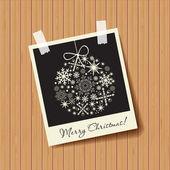 Molduras para fotos com bola de flocos de neve em fundo de madeira. conceito de Natal — Vetor de Stock