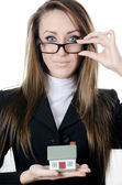 The business woman with the card — Stock Photo