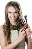 Portrait of the beautiful girl- Creative make-up — Stock Photo