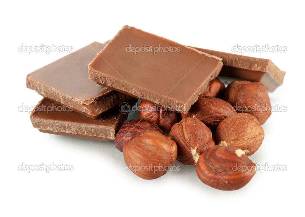 The pile of milk chocolate blocks isolated — Stock Photo #10806289