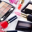 Assortment of cosmetic means for a decorative make-up - Stock Photo