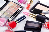 Assortment of cosmetic means for a decorative make-up — Stock Photo