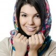 Stock Photo: Beautiful girl in scarf, Moslem