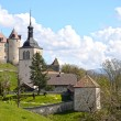 View on Gruyeres castle, Switzerland - Stock Photo