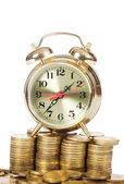 Alarm clock and money isolated on white background — Stock Photo