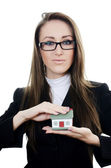 The business woman with small model of the house — Stock Photo