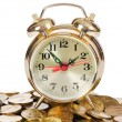 Alarm clock and money isolated on white background — Stok Fotoğraf #11357112