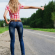 The girl in jeans stops the car on road - ストック写真