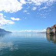 Chillon Castle at Geneva lake in Switzerland. - Stock Photo