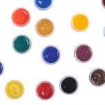 Jars with colour paints — Stock Photo
