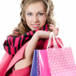 Stock Photo: Beautiful girl with purchases