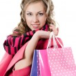 Stock Photo: The beautiful girl with purchases