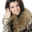 Stock Photo: Beautiful girl in fur hood