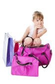 The little girl with a lilac bag isolated — Stock Photo