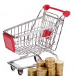 Shopping cart and coins — Stock Photo #11505199