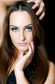 The young beautiful girl with a Evening make-up — Stock Photo