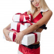 The Christmas girl with boxes of gifts isolated — Stock Photo #11875961
