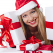 The Christmas girl with boxes of gifts isolated — Stockfoto #11875963