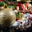 Christmas and New Year Border on black — Stock Photo #11876609