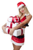 La chica de navidad con las cajas de regalos aislados — Foto de Stock
