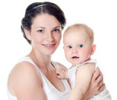 Happy mother with baby over white — Stock Photo
