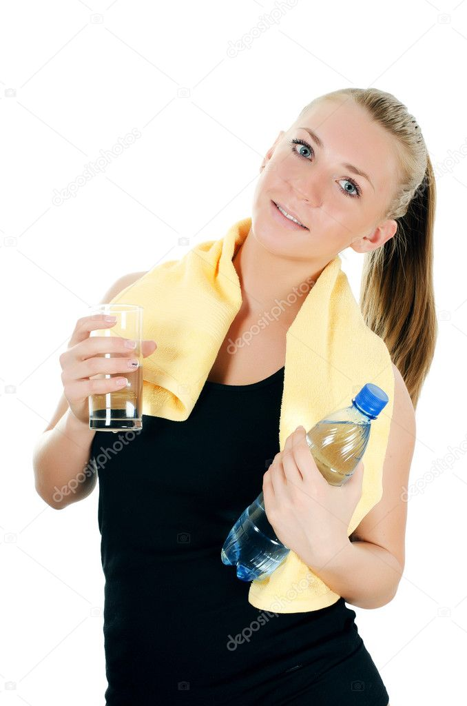Sports girl with towel and water bottle  Stock Photo #11875921