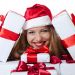 The Christmas girl with boxes of gifts isolated — 图库照片