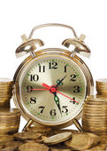Alarm clock and money isolated on white background — Stock Photo