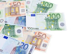 Euro banknotes isolated on white background — Stock Photo