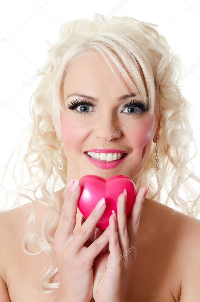 The beautiful woman blonde with doll make-up  Stock Photo #12186186