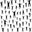 Set of poses from fans for sports championships — Stock Vector