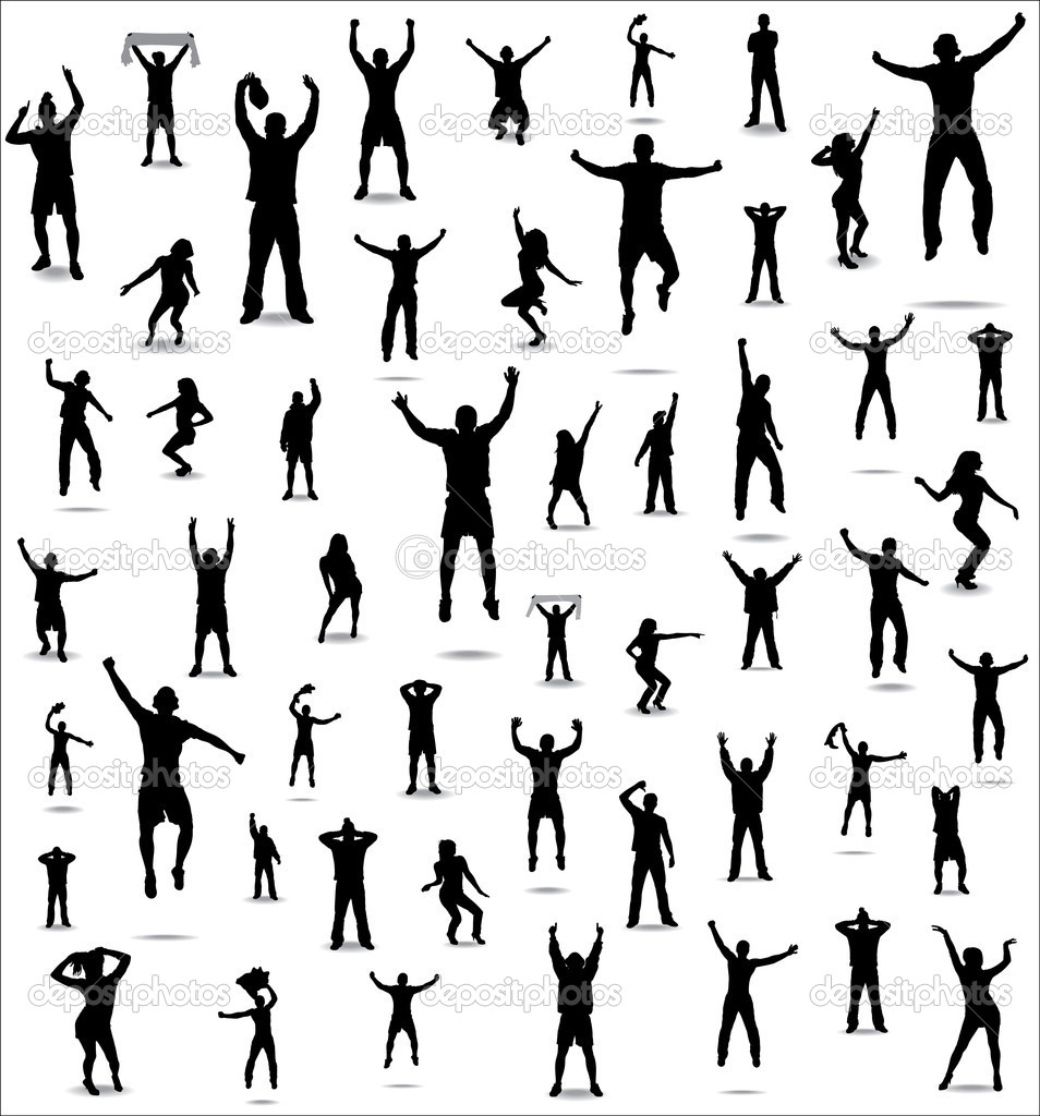 Set of poses from fans for sports championships and music concerts. Boys and girls. — Stock Vector #10960421