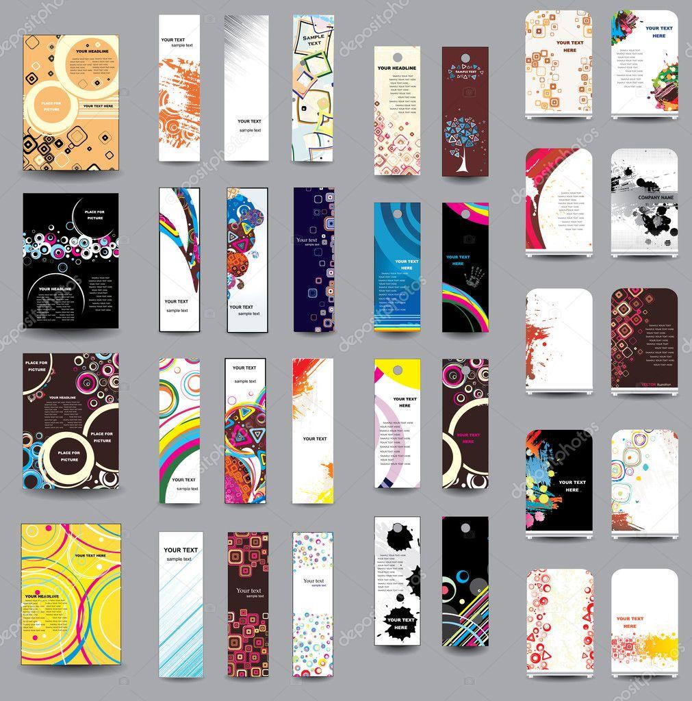 Un ensemble de dépliants, bannières, étiquettes, roll-up — Image
