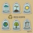 Eco icons on cardboard — Stock Vector
