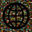 Vector globe made from colorful icons. Retro colors on black. - Stock Vector