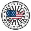 Stamp with map and flag of USA. Made in USA. — Vector de stock #11556215