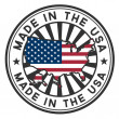 Stamp with map and flag of USA. Made in USA. — Vettoriale Stock #11556215
